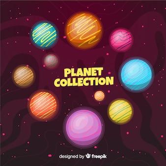太陽系からのカラフルな惑星のセット