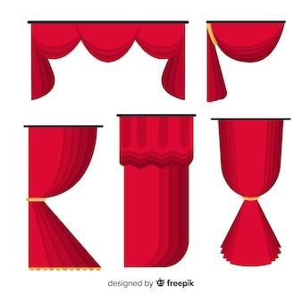 Коллекция плоских красных занавесок