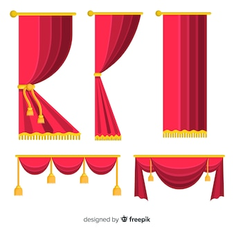 平らな赤いカーテンセット