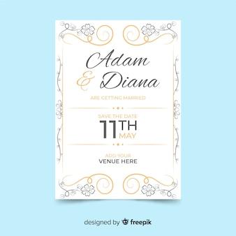 Белый и золотой старинный свадебный шаблон приглашения
