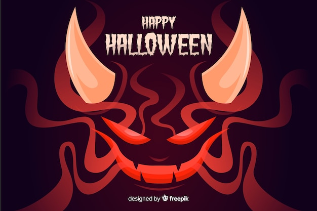 Сатана хэллоуин фон с плоским дизайном