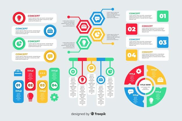 フラットなデザインのカラフルなインフォグラフィックテンプレート
