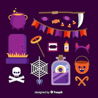 フラットなデザインの紫ハロウィーン要素コレクション