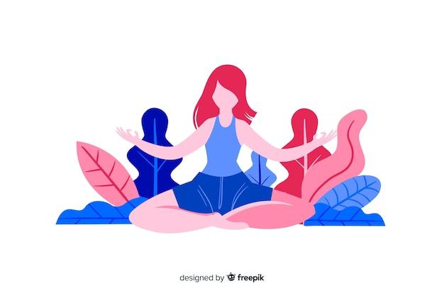 ランディングページの瞑想フラットなデザインキャラクター