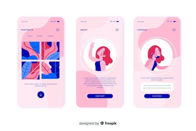 ランディングページのフラットなデザインのモバイルアプリのコンセプト