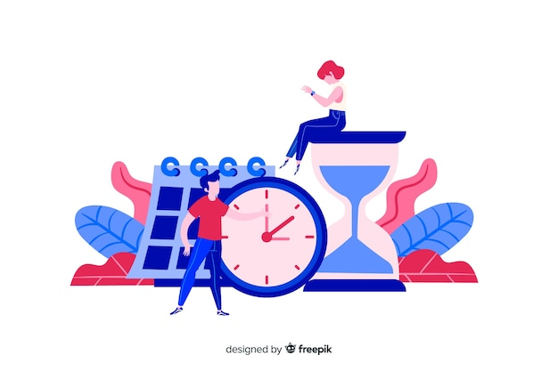 時間を管理するフラットなデザインキャラクター