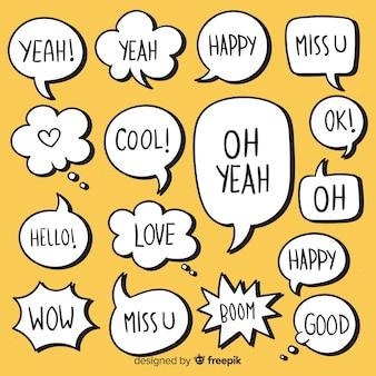 Минималистский рисованной речи пузыри с выражениями