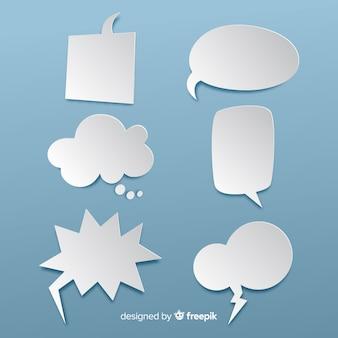 Плоский дизайн пустых речевых пузырей в бумажном стиле