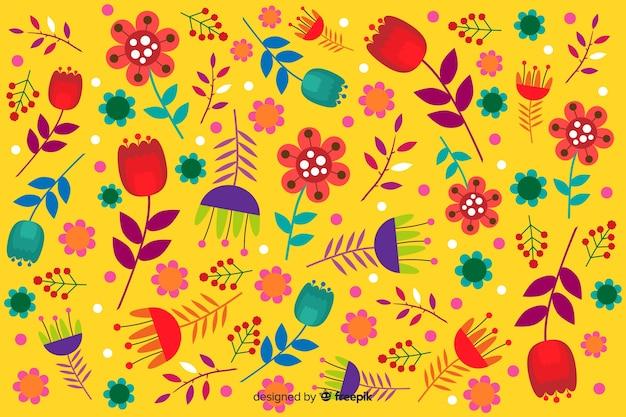 花柄のデザインと黄色の背景