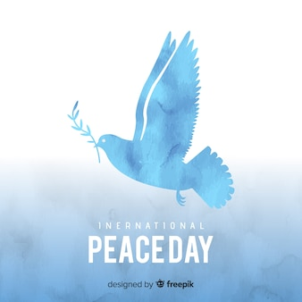 Концепция дня мира с акварелью голубя