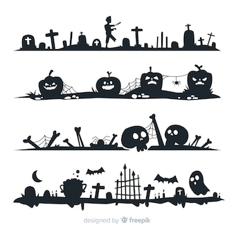 Плоский дизайн коллекции хэллоуин границы