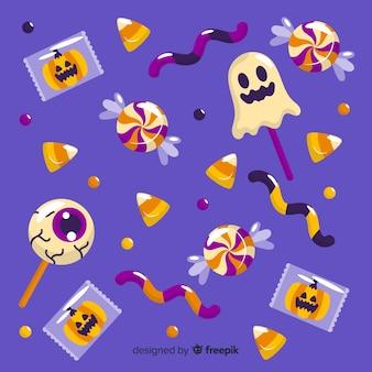 Коллекция хэллоуинских конфет на плоском дизайне