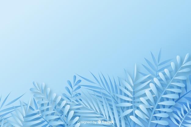 青の色合いで紙のスタイルでモノクロの葉の背景