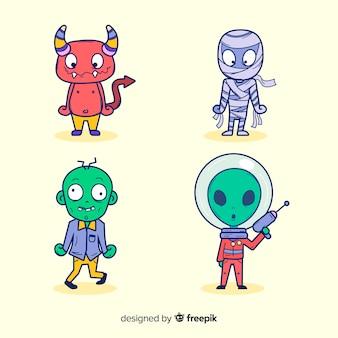 ハロウィーンキャラクターコレクションのフラットなデザイン