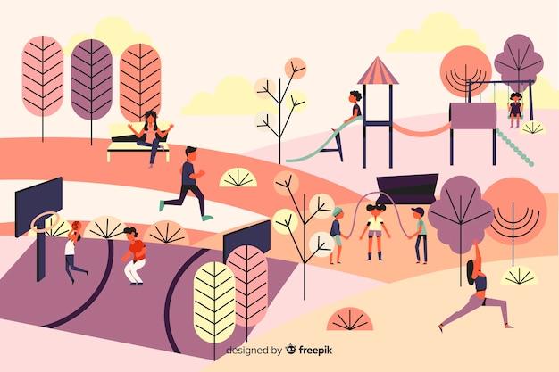 縄跳びの子供と公園の人々