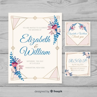 Плоский дизайн свадебного бланка шаблона
