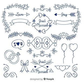 Коллекция голубой рисованной свадебный орнамент