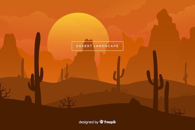 太陽とサボテンの砂漠の風景