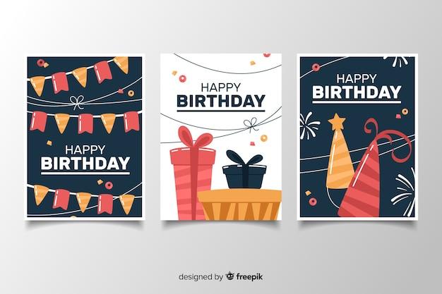 フラットなデザインの装飾が施された誕生日カードパック
