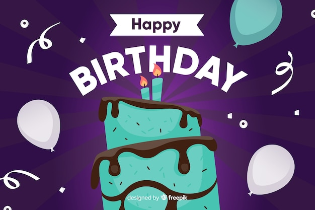 ケーキとフラットなデザインの誕生日のお祝い