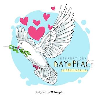 鳩と手描きの平和の日