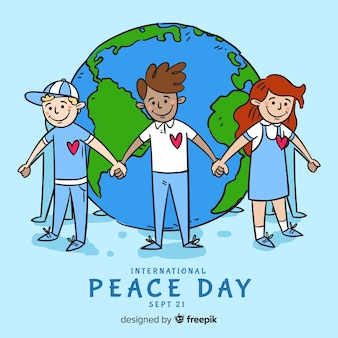 子供たちと手描きの平和の日