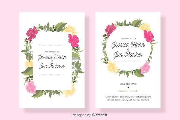 Плоский дизайн шаблона розового свадебного приглашения