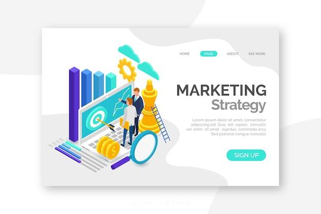 Изометрическая красочная маркетинговая целевая страница