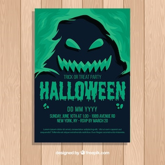 Хэллоуин плакат шаблон с плоским дизайном