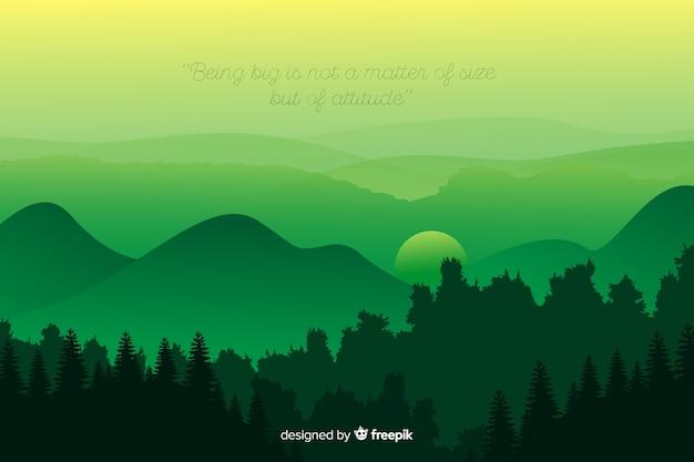 Цитата и горы в зеленом оттенке