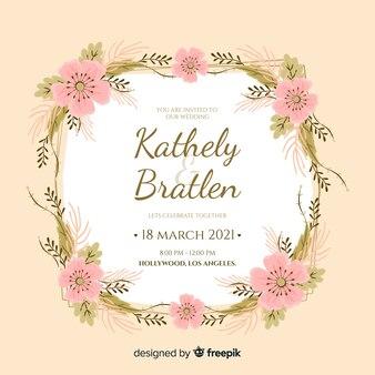 Розовая цветочная рамка свадебное приглашение в плоском дизайне