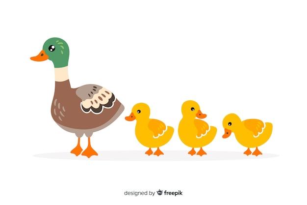 フラットなデザインの母鴨とアヒルの子