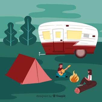 自然の中でキャンプする人々