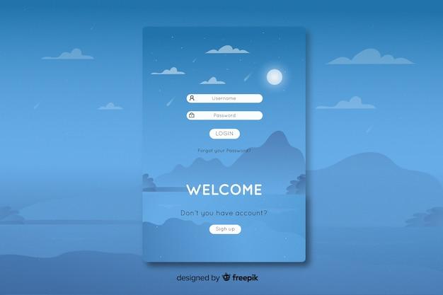 フラットなデザインの風景の背景を持つランディングページにログインする