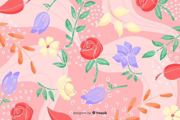 赤いバラの手描き抽象花柄背景