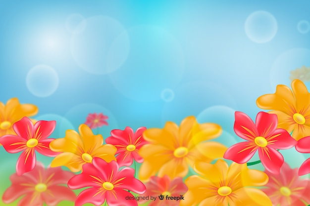 青い光の背景にデイジー色の花