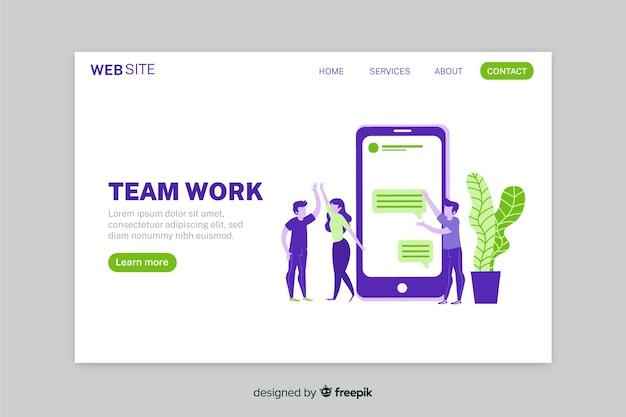 カラフルなフラットデザインの携帯電話とキャラクターのチームワークランディングページ