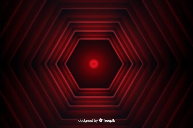 六角形の赤い線の幾何学的な背景