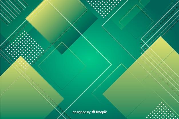 緑のグラデーションの色合いの幾何学的な背景