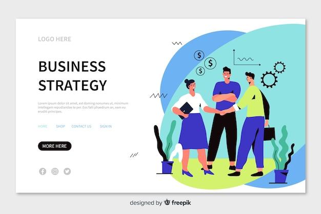 Целевая страница бизнес-стратегии с работниками, пожимающими руки