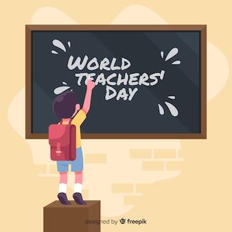 Плоский дизайн фона день учителя