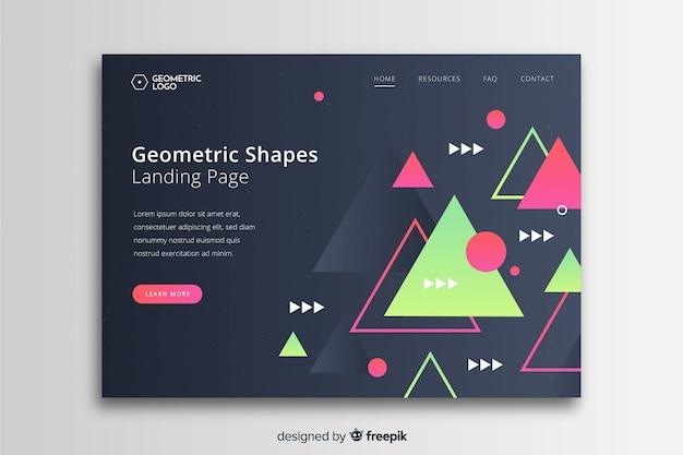 活気に満ちた幾何学的図形を含む黒いランディングページ