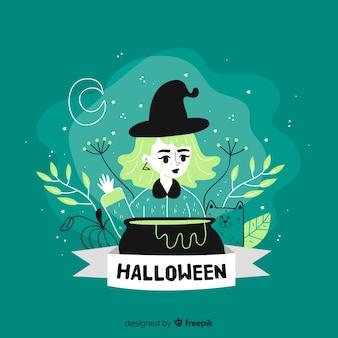 かわいい緑の手描きハロウィーン魔女背景