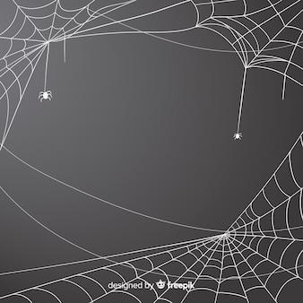 灰色のハロウィーンクモの巣の背景