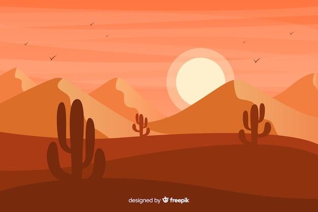 砂丘とサボテンの日没