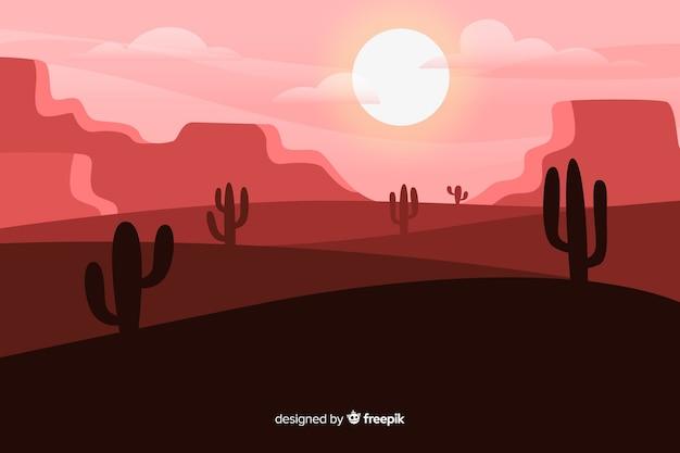 ピンクの色合いの砂漠の風景