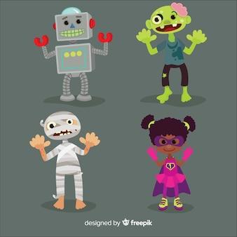 Коллекция хэллоуинских детских костюмов в плоском дизайне