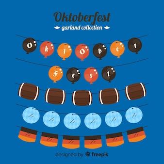 Плоский дизайн коллекции гирлянд октоберфест