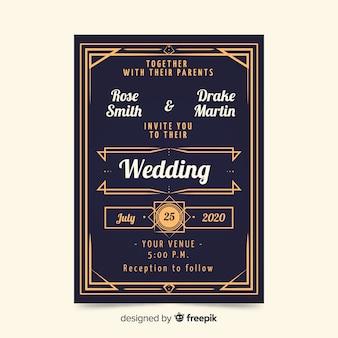 Красивый старинный свадебный шаблон приглашения