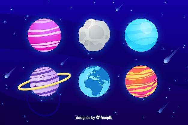 フラットなデザインの天の川の惑星パック